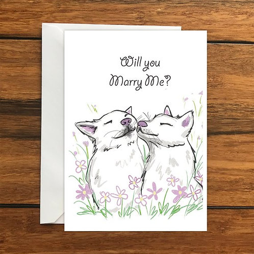 Will you marry me? Dogs Greeting Card Size A6
