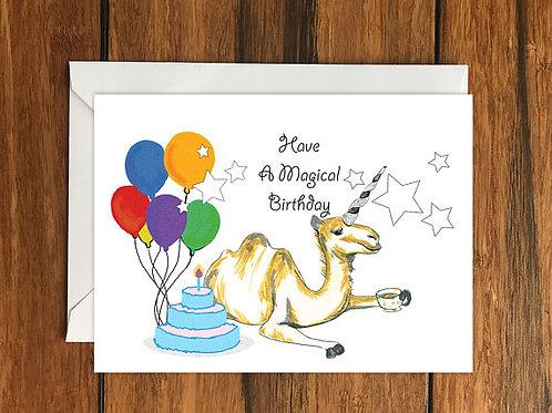 Have a Magical Birthday Camel Unicorn Happy Birthday One Blank Greeting card A6