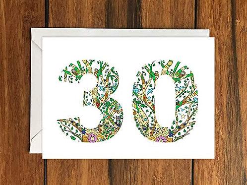 Thirtieth Birthday Greeting Card A6