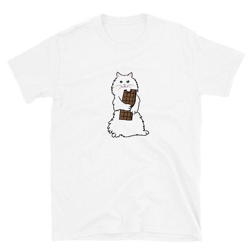 White Cat hugs Chocolate Bar Short-Sleeve Unisex T-Shirt