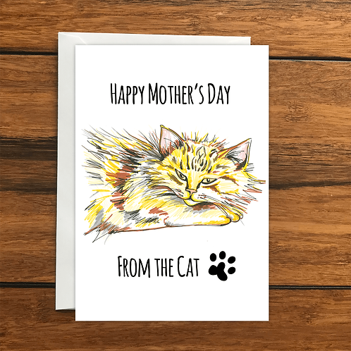 Happy Mothers Day from the Cat greeting card A6