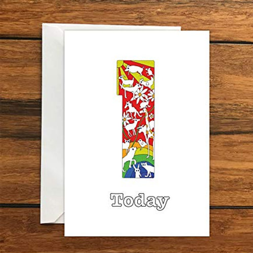 One year old Today Birthday greeting card A6