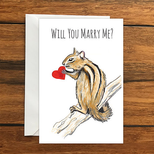 Will you marry me chipmunk One Blank Greeting card and Envelope A6