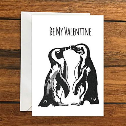 Be My Valentine Penguins Greeting Card A6