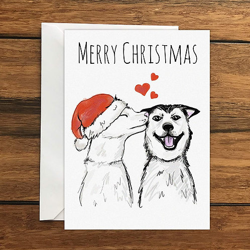 Merry Christmas Dogs One Original Blank Greeting Card A6