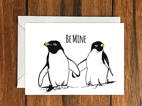 Be Mine Penguin Greeting Card A6