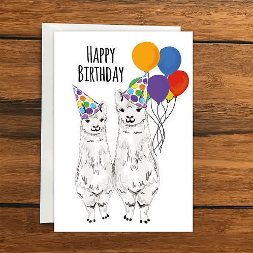 Happy Birthday Llama greeting card A6