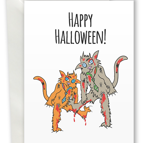 Halloween Zombie Cat greeting card A6