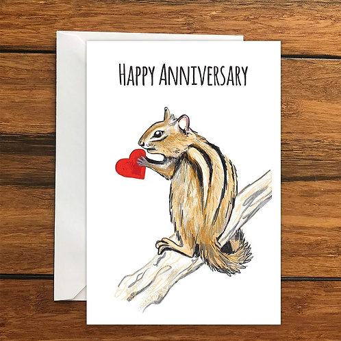 Happy Anniversary Chipmunk greeting card A6