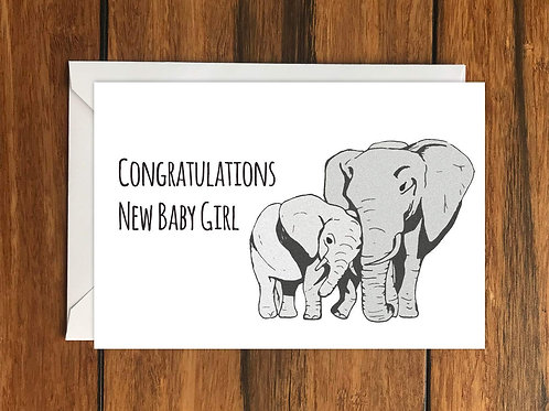 Congratulations New Baby Girl greeting card A6