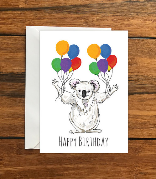 Happy Birthday Koala Blank Original Greeting Card Size A6