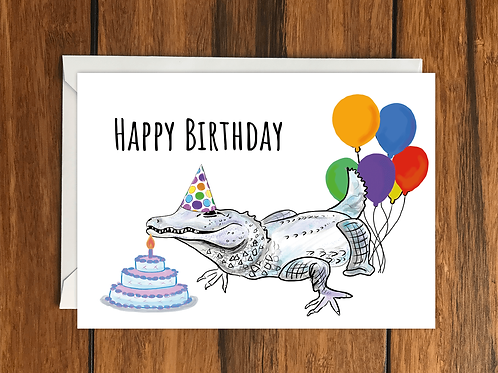 Happy Birthday Crocodile greeting card A6