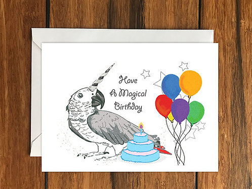 Have a Magical Birthday Parrot Unicorn Happy Birthday Blank Greeting card A6