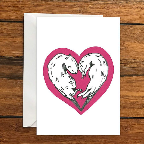 Ferret love heart Greeting Card A6