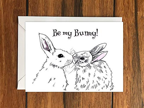 Be My Bunny Rabbit Greeting Card A6