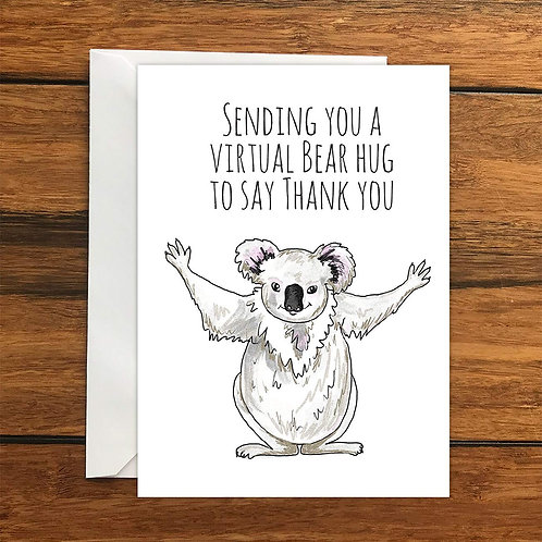 Sending you a virtual bear hug to say thank you Koala Greeting Card A6