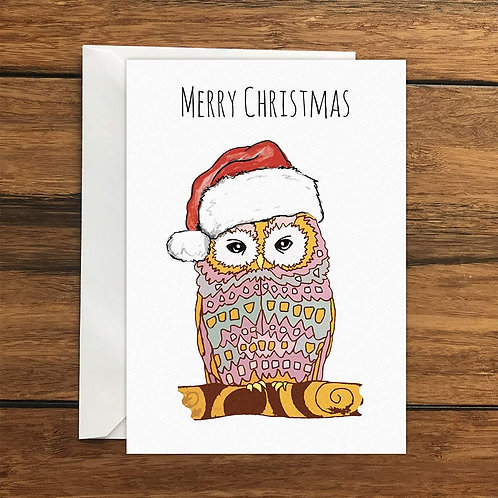 Merry Christmas Owl Blank Greeting Card A6