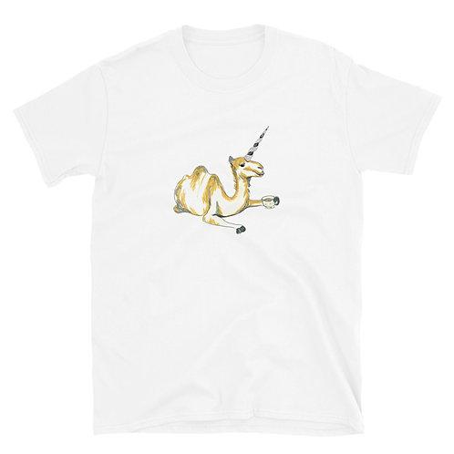 Unicorn Camel drinking Tea Short-Sleeve Unisex T-Shirt