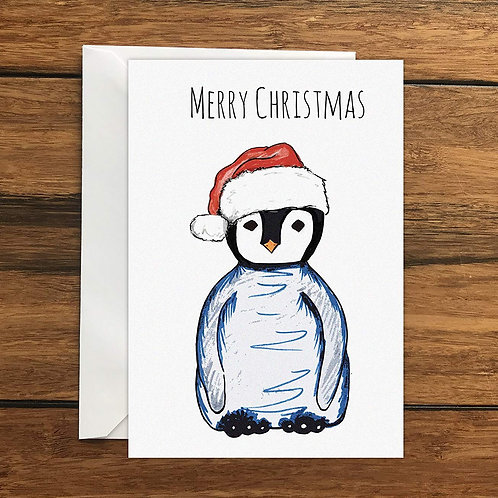 Merry Christmas Penguin Greeting Card A6