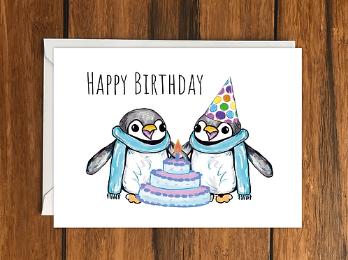 Happy Birthday Penguins greeting card A6