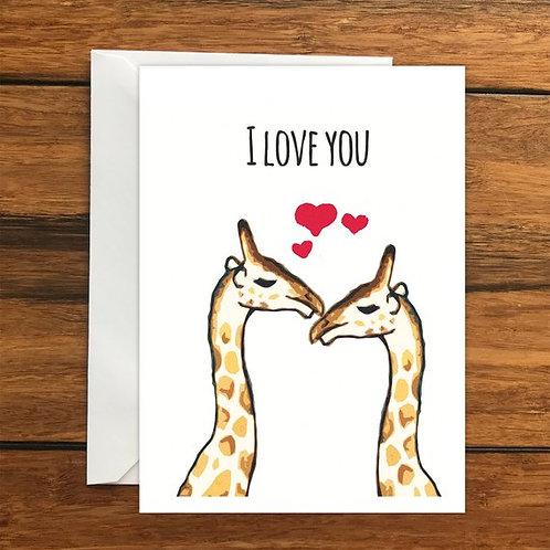 Giraffe Kissing Card