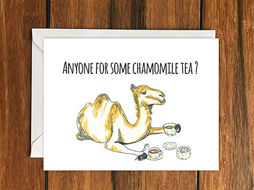 Anyone For Some Chamomile Tea Camel (A6) Original Blank Greeting Card