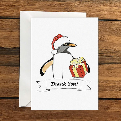 Thank you Christmas Penguin Greeting Card A6