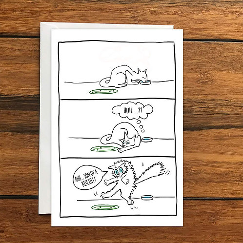 Cat and Cucumber greeting card A6
