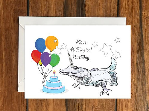 Have a Magical Birthday Crocodile Unicorn Happy Birthday Greeting card A6