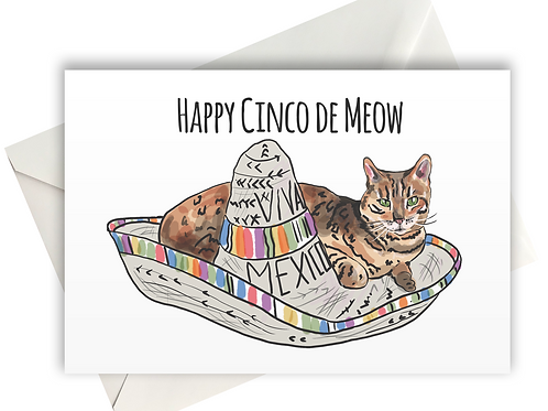 Happy Cinco de Meow Greeting card A6