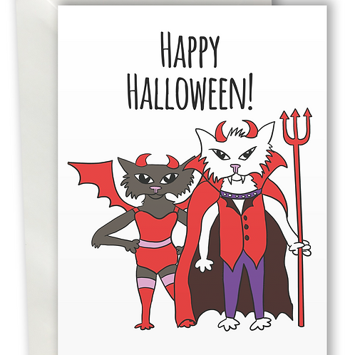Halloween Cats Devil and Dark Angel greeting card A6