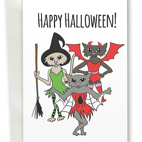 Happy Halloween Witch, Devil and Spider Cat greeting card A6