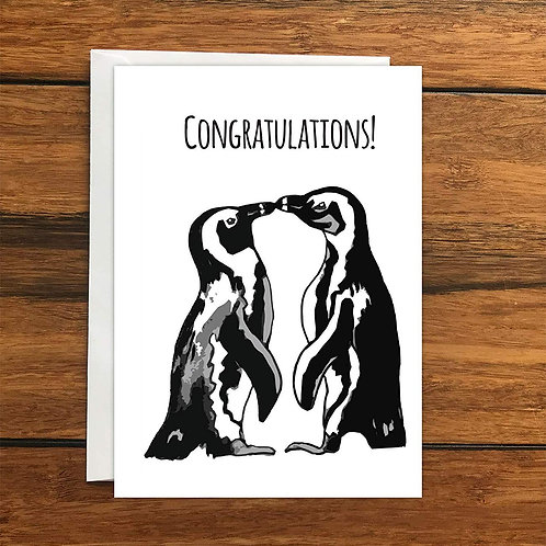 Congratulations Penguins greeting Card A6
