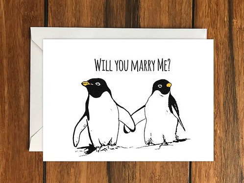 Will you marry me? Penguin Romantic Greeting Card Size A6