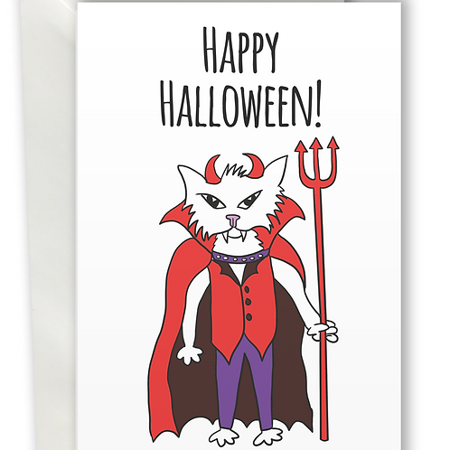 Halloween Cats Devil greeting card A6
