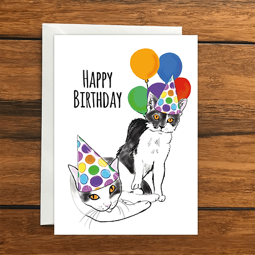 Happy Birthday Cats greeting card A6