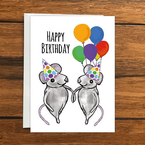 Happy Birthday Mice greeting card A6