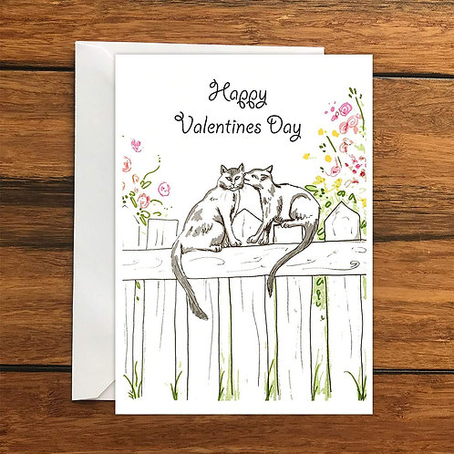 Happy Valentine's Day Kissing Cats Greeting Card A6