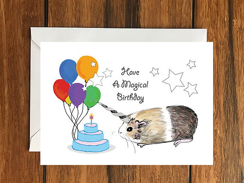 Have a Magical Birthday Guinea pig Unicorn Greeting Card