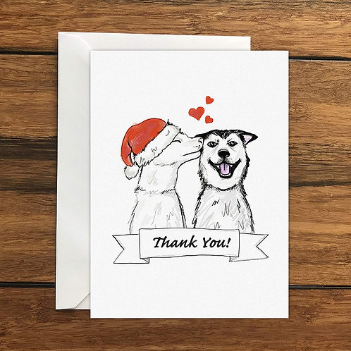 Thank you Christmas Dogs Greeting Card A6