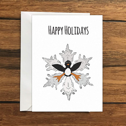Happy Holidays Penguin Snowflake Greeting Card A6