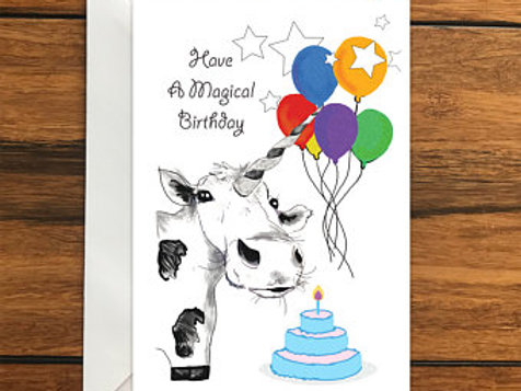 Have a Magical Birthday Cow Unicorn Happy Birthday One Blank Greeting card A6