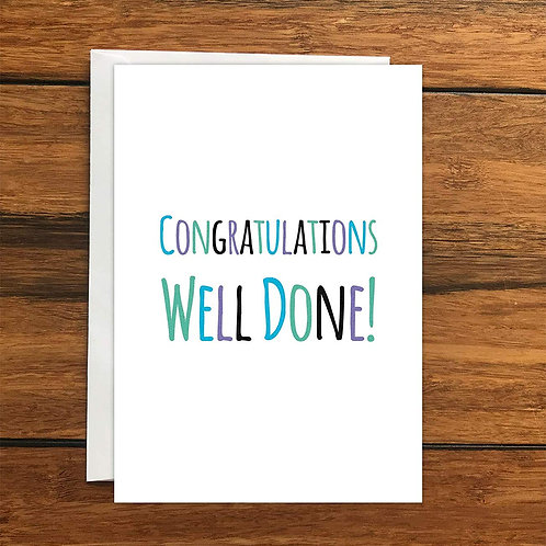 Congratulations Well Done Greeting Card A6
