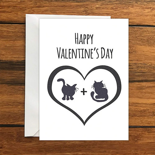 Happy Valentine's Day Cats Blank Greeting Card A6