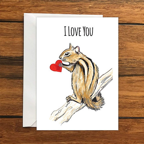 I Love You Chipmunk greeting card A6