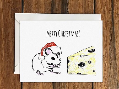 Merry Christmas Mouse Greeting Card A6