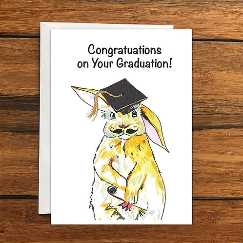 Congratulations on your graduation rabbit greeting card A6