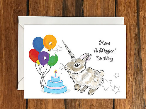 Have a Magical Birthday Rabbit Unicorn Happy Birthday One Blank Greeting card A6