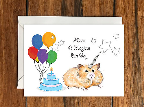 Have a Magical Birthday Hamster Unicorn Happy Birthday Blank Greeting card A6