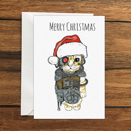 Festive Borg Style Cat Greeting Card A6